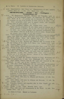 Annotierte Seite Catalogue 1849