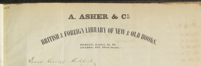 Rechnungskopf A. Asher